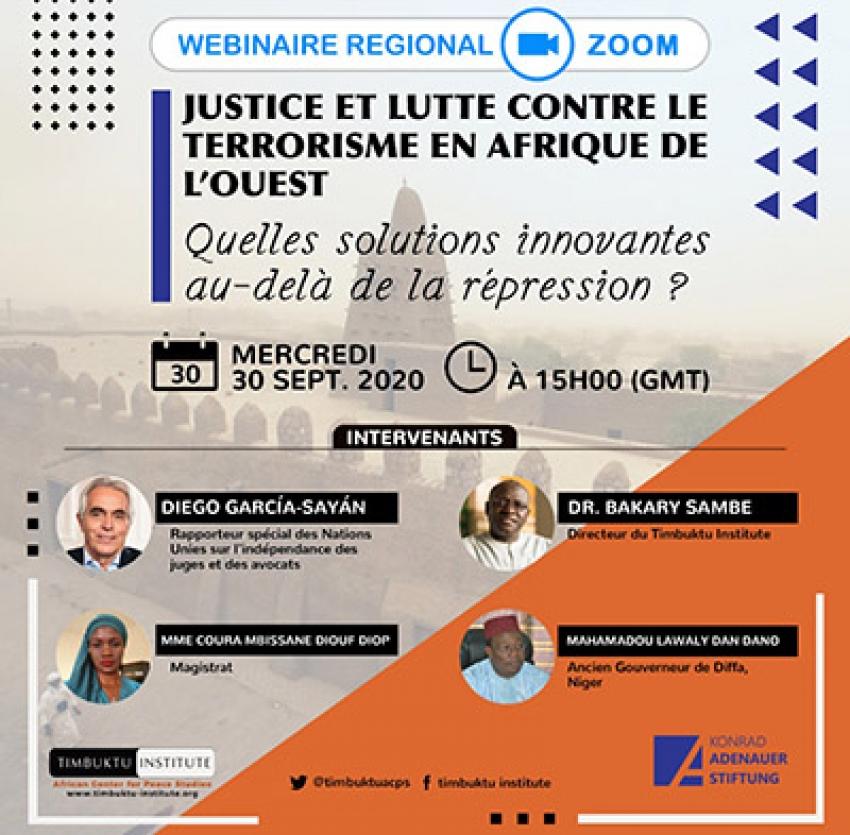 """Webinaire régional sur """"Justice et lutte contre le terrorisme en Afrique de l'Ouest"""" ce mercredi"""