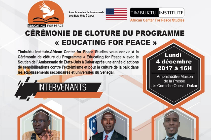 Clôture du programme Educating For Peace le 4 décembre 2017