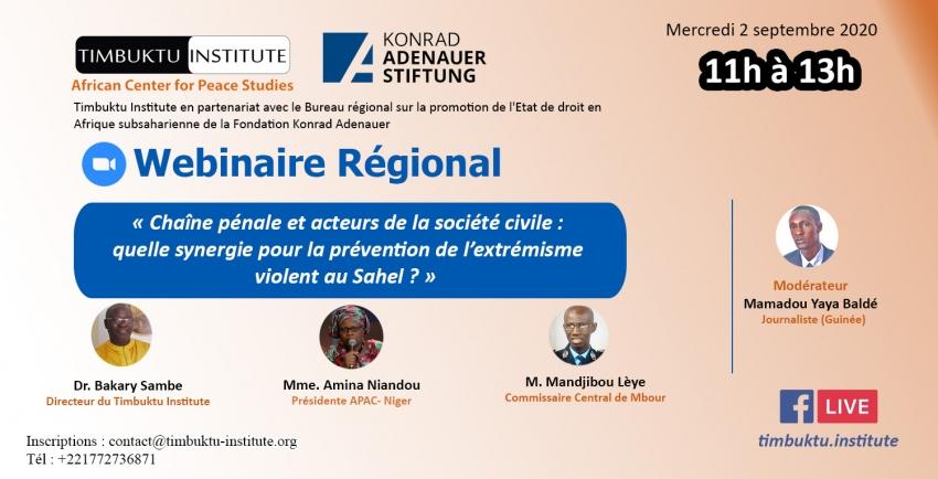Etat de droit et terrorisme au Sahel : un webinaire régional pour promouvoir le dialogue entre justice pénale et société civile